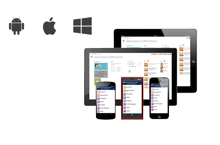 dynamics crm mobile app windows phone, android, iphone and ipad